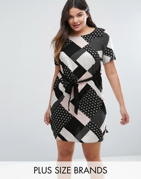 photo Graphic Print Belted Tunic Dress by New Look Plus, color Pink Pattern - Image 1