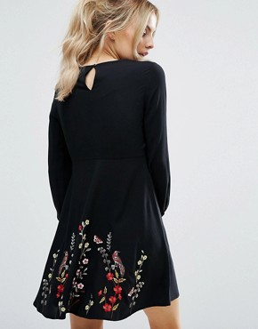 photo Floral Embroidered Skater Dress by New Look Petite, color Black - Image 2