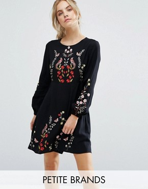 photo Floral Embroidered Skater Dress by New Look Petite, color Black - Image 1