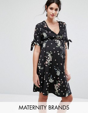 photo Floral Wrap Dress by New Look Maternity, color Black - Image 1