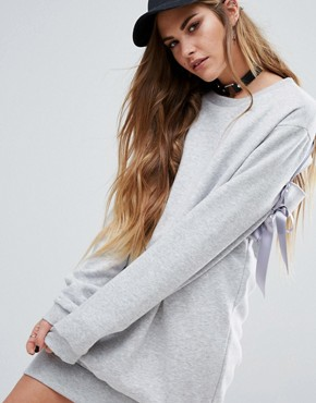 photo Sweat Dress With Back Lace Up by Reclaimed Vintage, color Grey Marl - Image 2