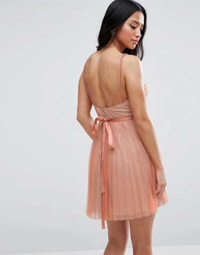 photo Deep Plunge Cami Mesh Pleated Mini Dress by ASOS PETITE, color Nude - Image 2