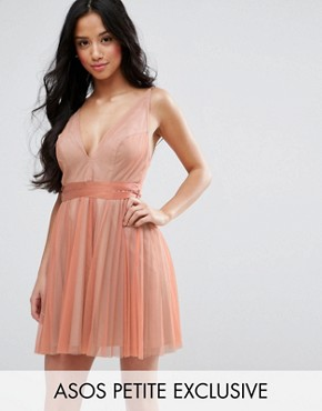 photo Deep Plunge Cami Mesh Pleated Mini Dress by ASOS PETITE, color Nude - Image 1