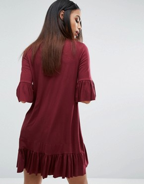 photo Frill Hem And Sleeve Swing Dress by Missguided, color Burgundy - Image 2