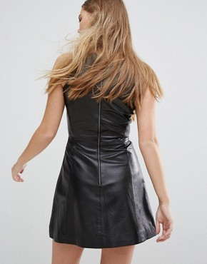 photo Agden Leather A-Line Dress by Muubaa, color Black - Image 2