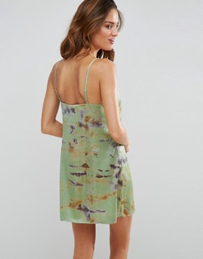 photo Satin Tie Dye Lace Trim Cami Beach Sundress by ASOS, color Green - Image 2