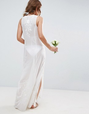 photo Floral Embroidered Split Maxi Beach Dress by ASOS BRIDAL, color Cream - Image 2