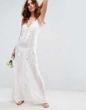 photo Floral Embroidered Split Maxi Beach Dress by ASOS BRIDAL, color Cream - Image 1
