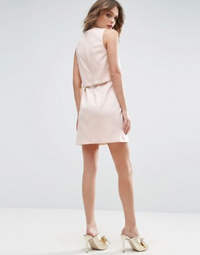 photo Scuba Crop Top with Embellished Trim Mini Dress by ASOS, color Nude - Image 2