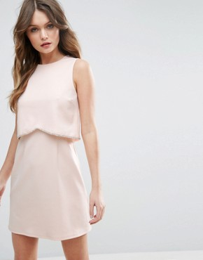 photo Scuba Crop Top with Embellished Trim Mini Dress by ASOS, color Nude - Image 1