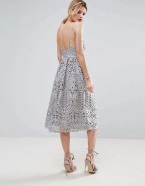 photo Heavy Lace Cami Midi Prom Dress by ASOS, color Grey - Image 2
