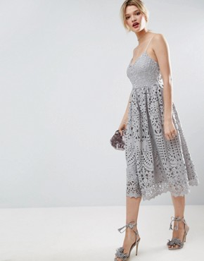 Photo Heavy Lace Cami Midi Prom Dress By Asos Color Grey Image 4