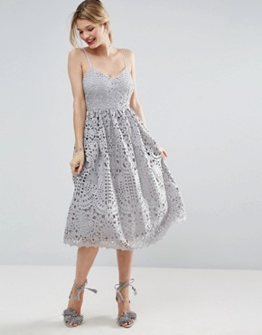 photo Heavy Lace Cami Midi Prom Dress by ASOS, color Grey - Image 1