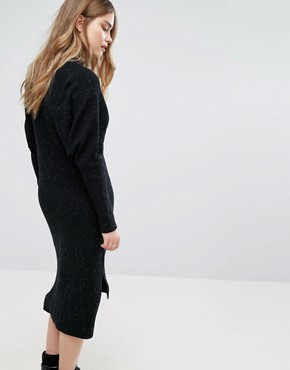 photo Knitted Midi Dress by Pull&Bear, color Black - Image 2