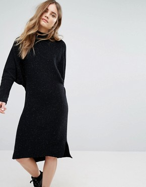 photo Knitted Midi Dress by Pull&Bear, color Black - Image 1