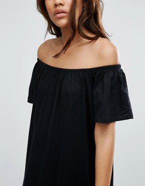 photo Off Shoulder Maxi Dress by ASOS TALL, color Black - Image 3