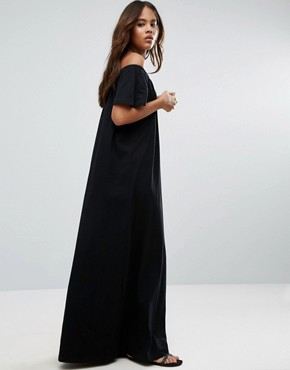 photo Off Shoulder Maxi Dress by ASOS TALL, color Black - Image 4
