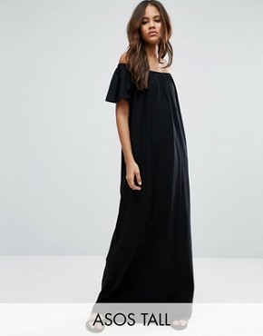 photo Off Shoulder Maxi Dress by ASOS TALL, color Black - Image 1