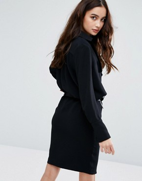 photo Frill Long Sleeve Dress with Belt by BA&SH, color Noir - Image 2