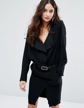 photo Frill Long Sleeve Dress with Belt by BA&SH, color Noir - Image 1