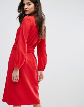 photo Red Midi Dress by BA&SH, color Rouge - Image 2