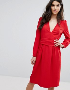 photo Red Midi Dress by BA&SH, color Rouge - Image 1