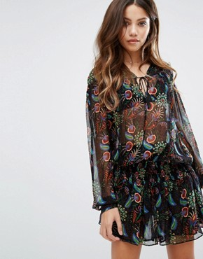 photo Tiered Skirt Printed Dress by BA&SH, color  - Image 1