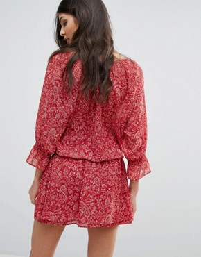 photo Tiered Skirt Printed Dress by BA&SH, color Framboise - Image 2