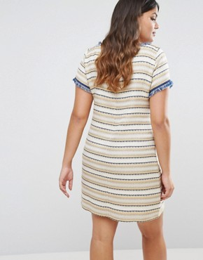 photo Texured Shift Dress by Elvi, color Mustard - Image 2