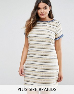 photo Texured Shift Dress by Elvi, color Mustard - Image 1