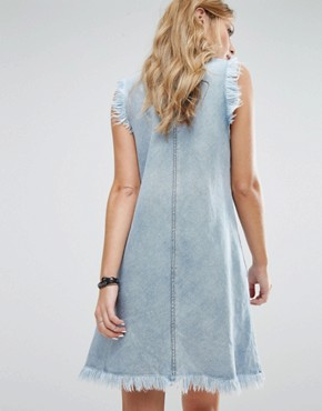 photo Raw Edge Denim Dress by Replay, color Light Blue - Image 2