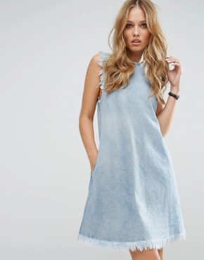 photo Raw Edge Denim Dress by Replay, color Light Blue - Image 1