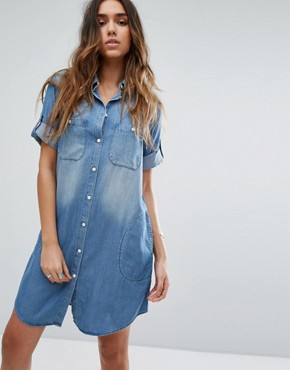 photo Oversized Denim Shirt Dress by Replay, color Blue - Image 1