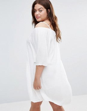 photo Cold Shoulder Dress with Crochet Insert by Diya Plus, color White - Image 2