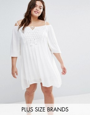 photo Cold Shoulder Dress with Crochet Insert by Diya Plus, color White - Image 1