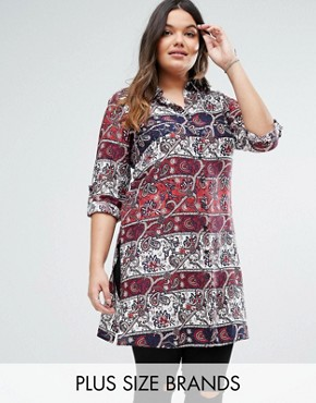 photo Shirt Dress by Diya Plus, color Red/White - Image 1