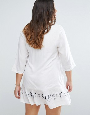 photo Drop Hem Dress with Embroidery by Diya Plus, color White/Navy - Image 2