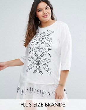 photo Drop Hem Dress with Embroidery by Diya Plus, color White/Navy - Image 1