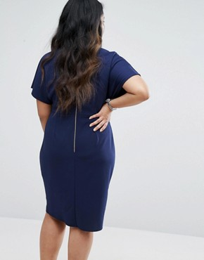 photo Wrap Pencil Dress by Closet London Plus, color Navy - Image 2