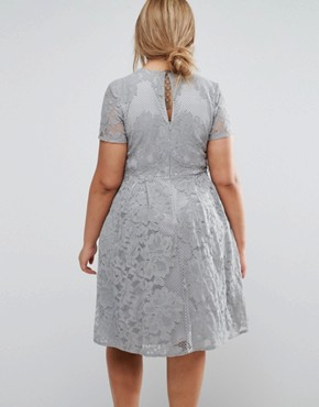 photo Allover Lace Skater Dress with Cap Sleeve by Little Mistress Plus, color Grey - Image 2