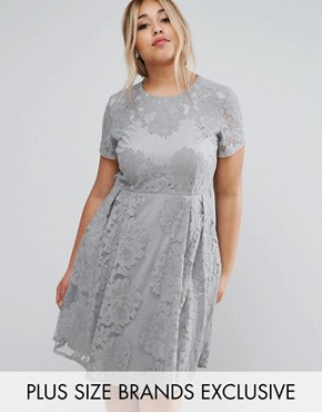 photo Allover Lace Skater Dress with Cap Sleeve by Little Mistress Plus, color Grey - Image 1