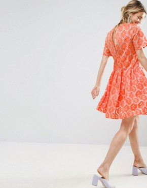 photo Embroidered Floral Organza Skater Dress by ASOS SALON, color  - Image 2