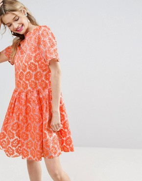 photo Embroidered Floral Organza Skater Dress by ASOS SALON, color  - Image 1