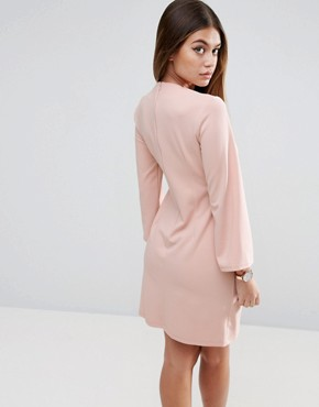 photo Wrap Skirt Flute Sleeve Mini Dress by ASOS, color Nude - Image 2