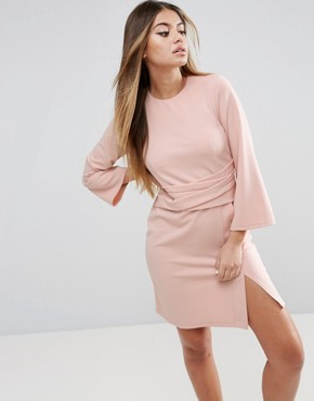 photo Wrap Skirt Flute Sleeve Mini Dress by ASOS, color Nude - Image 1
