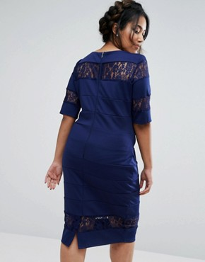photo Lace Insert Pencil Dress by Paper Dolls Plus, color Navy - Image 2