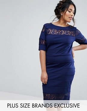 photo Lace Insert Pencil Dress by Paper Dolls Plus, color Navy - Image 1