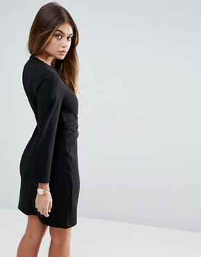 photo Wrap Skirt Flute Sleeve Mini Dress by ASOS, color Black - Image 2
