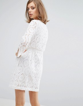 photo Broderie Button Front Dress by Vanessa Bruno Athe, color Ivory - Image 2