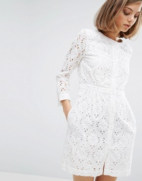 photo Broderie Button Front Dress by Vanessa Bruno Athe, color Ivory - Image 1